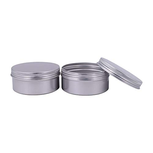 Healthcom 5-Ounce 12 Pack Screw Top Round Steel Tin Cans Aluminum Metal Tin Flat Storage Container for DIY Beauty,Cosmetics,Accessories,Candle Travel Tins or Storage Survival Kit