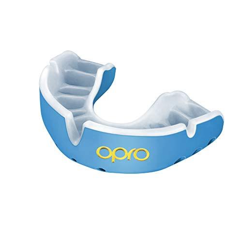 OPRO Protector Bucal Self-Fit Gold - Protector bucal - para Rugby, Hockey, Lacrosse, fútbol Americano, Baloncesto y más - Fabricado en Reino Unido (Azul Cielo/Perla, Adulto)