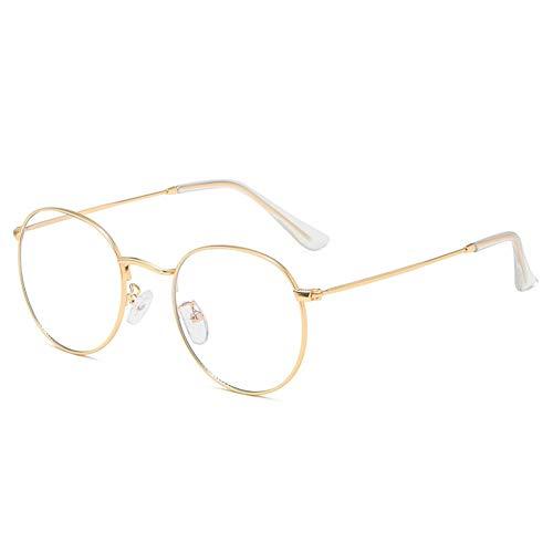 Yiyu Blaulicht-Schutzbrille, Leichter UV-Schutz Strahlungsresistente Flache Schutzbrille, Anti-Augen-Ermüdung 0 Grad Transparente Gläser Für Computer/Mobile Read/Games x (Color : Gold)