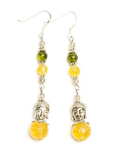 Kimaya Bijoux Boucles d'oreilles artisanales Citrine Péridot Labradorite bouddha crochets argent 925