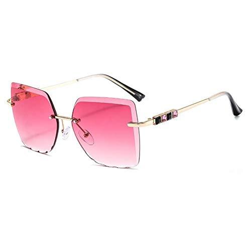 ZZOW Gafas De Sol De Gran Tamaño con Montura Metálica De Diamante De Color Cuadrado para Mujer, Gafas De Sol Graduadas Teñidas Sin Montura Vintage para Hombre