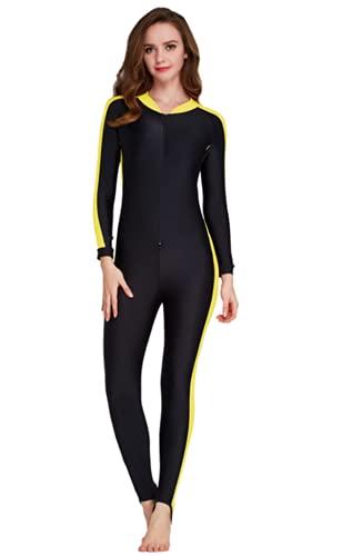 YEESAM Modest Swimwear - Traje de buceo para mujer, hombre y niña, ropa de protección UV, para ver todo el cuerpo, traje de baño amarillo XXL