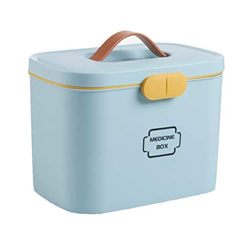 Ysoom Medizinbox 27 x 18 x 17 cm Plastik Erste Hilfe Box Aufbewahrungskasten Medizin Box mit Griff mit herausnehmbarem Ablagefach Arzneimittelbox Medikamentenbox Organizer (Blue)
