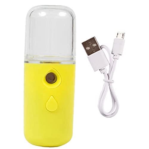 Facial Mist Spuit Handheld Gezichtsstoomboot USB-opladen voor huidverzorging Hydraterende hydrating geel 30ml