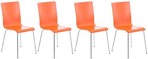 CLP Set 4 Sedie Visitatore Pepe I Sedia Attesa con Seduta in Legno E Telaio in Metallo Cromato I Sedia Ergonomica E Facile da Pulire, Colore:Arancione