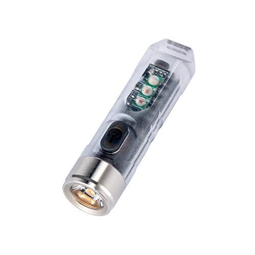 RovyVon Aurora A8 Lampe torche LED transparente, rechargeable, compacte, 8 modes, lampe de poche avec clip de poche, IRC élevé pour le camping, la randonnée, le sport