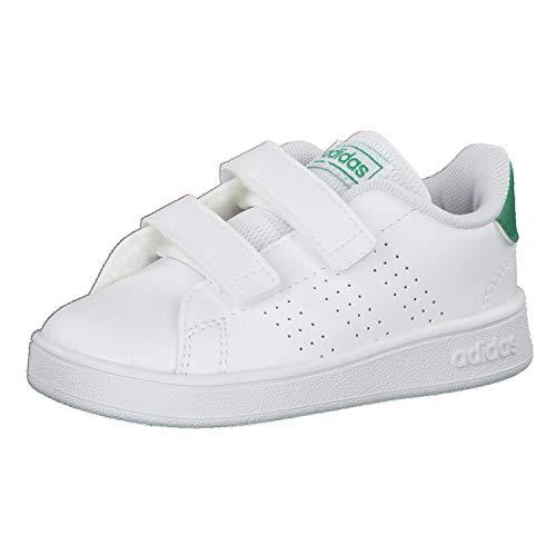 adidas Advantage I, Scarpe da Ginnastica, Ftwr White/Green/Grey Two f17, 21 EU