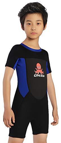 Cressi Smoby Shorty Wetsuit Traje de Neopreno 2 mm, Niños, Negro/Azul, 3/4 Años