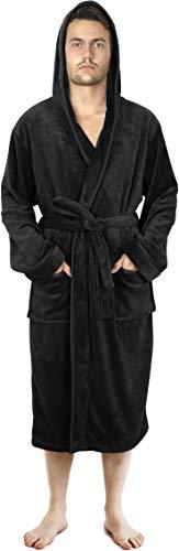 NY Threads Luksusowy szlafrok męski | Super miękki męski szlafrok polarowy | Przytulna pluszowa odzież domowa i nocna z kapturem