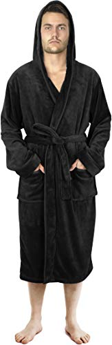 NY Threads Bademantel Herren mit Kapuze, Morgenmantel Flauschig, Nachtwäsche aus weichem Fleece - Kuschelfleece Saunamantel für Männer (Large, Schwarz)