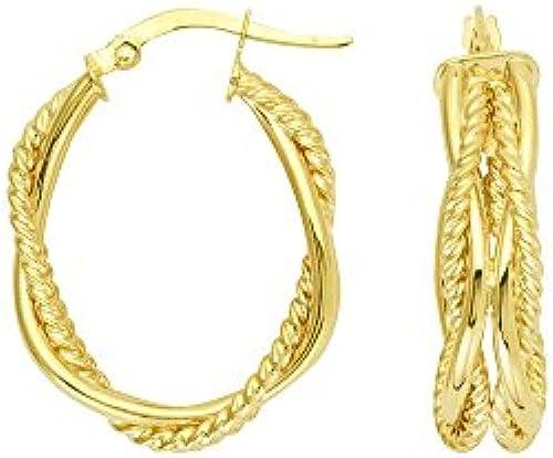 14  Gelb Gold High Polish und strukturierte Tube geflochten oval Hoop Ohrringe