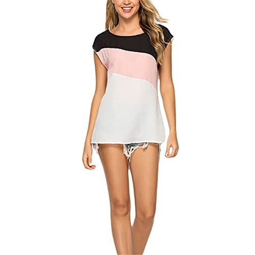 Camisa Mujeres Verano Delgado Y Ligero Gasa Empalme Color Cuello Redondo Manga Corta Mujeres Tops Moda Casual Elegante Viajes Vacaciones Exquisitas Mujeres Shirt B-Pink S