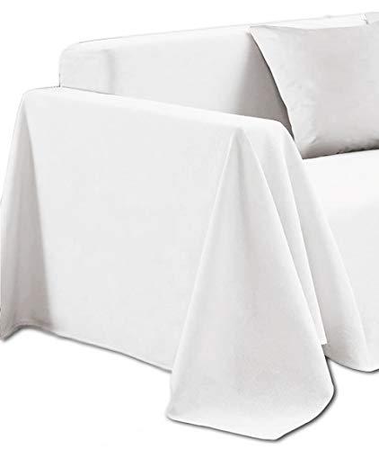 Centesimo Web Shop Maxi Telo Arredo Copritutto 7 Misure Copridivano Grande Copripoltrona Foulard Multiuso Tinta Unita Pastello - Bianco - 180x300 cm