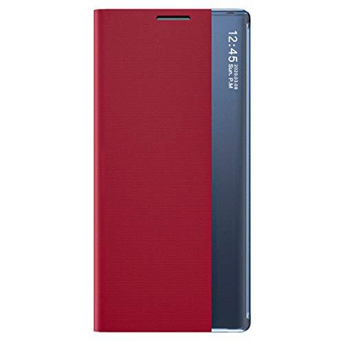 TANYO Funda Smart View para Xiaomi Redmi Note 10 4G | Note 10S, Prima PU Cuero Carcasa con Clear Ventana, Moda Espejo Estuche Movil con Soporte Plegable, Case Cover - Rojo
