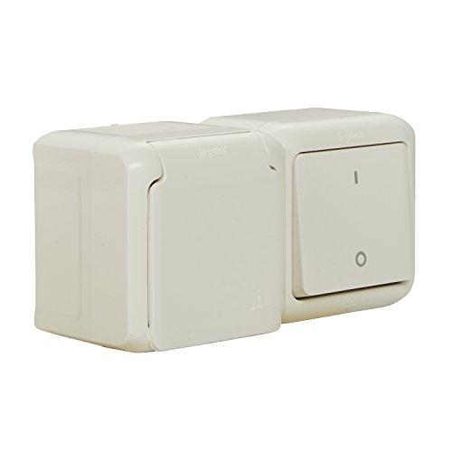 Legrand 782372forix 4000900290–Interruptor Combinación (Horizontal) IP44, enchufe con protección de contacto y tapa, para montaje en la pared, Gris