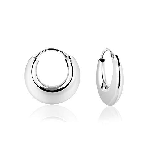 DTP Silver - Pendientes de Aro de mujer - Creoles gruesos - Plata 925 - Espesor 4.5 mm - Diámetro 18 mm