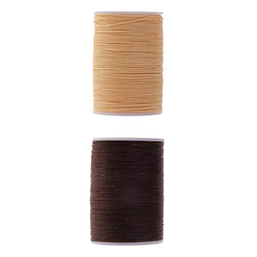 MagiDeal 2 Rollos de Hilo Encerado 0.5mm 130m Cordón de Poliéster Costura Costura Artesanía en Cuero