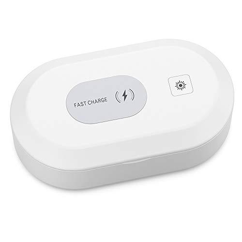 UFinetech 3-in-1 Tragbar UV Sterilisator UV-Licht Handy Groß LED Ozon Zahnbürste Smartphone Schmuck Masken Kosmetik Desinfektion Box Antibakterieller Multifunktionale Wireless Ladegerät Aromatherapie