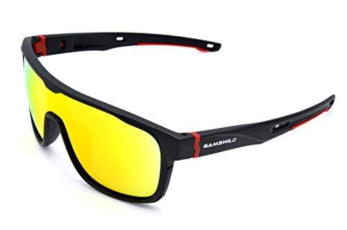 Gamswild Sonnenbrille WS1426 Sportbrille Skibrille Fahrradbrille Unisex Herren Damen | blau | rot | türkis, Farbe: Rot