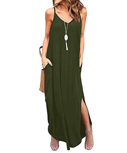 Tudou Robe longue fendue pour femme avec fines bretelles, col en V et poches Robe d'été parfaite pour la plage - Vert - X-Large