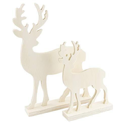 Deko-Hirsche aus Holz | In zwei verschiedenen Größen | 2 Stück