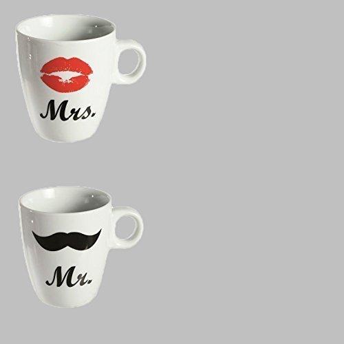 DRULINE MR & MRS Kaffeebecher Kaffeetassen Valentinstag Tassen Schüssel Schale Müsli (Becher)