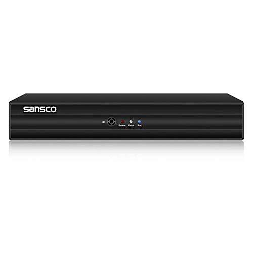 SANSCO 4 Channel 1080p Lite DVR Recorder for CCTV Security Camera System, Support AHD/CVI/TVI/IP/CVBS(Analog) Cameras, Motion Detection, Email Alert, APP CMS Remote Viewing, USB Backup, No Hard Drive