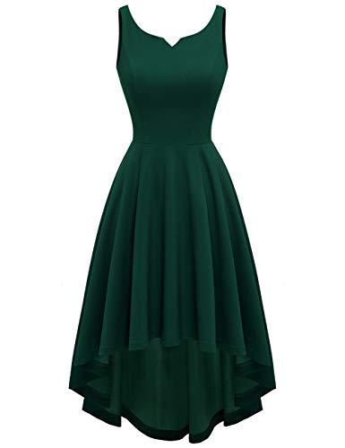 MUADRESS 9006 Vestido Vintage en Audrey Hepburn Cóctel Ceremonia de Boda Falda Asimétrica sin Mangas Frente Corto Largo Atrás Verde Oscuro S