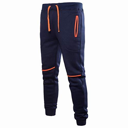 Katenyl Pantalones de chándal para Hombre Costuras en la Cintura elástica Suelto Fitness al Aire Libre Correr Moda Informal Pantalones de Jogging básicos L