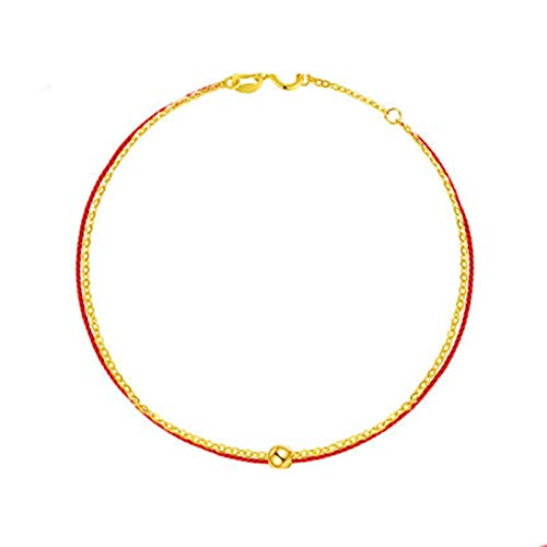 KnSam Cavigliere da Donna,Cavigliera in Oro,Corda Rossa Oro Giallo 18 Carati