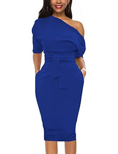 Nature Comfy Elegant Womens Wear to Work Casual one Shoulder Belted Pencil Dress with Pockets (L, Royal Blue)