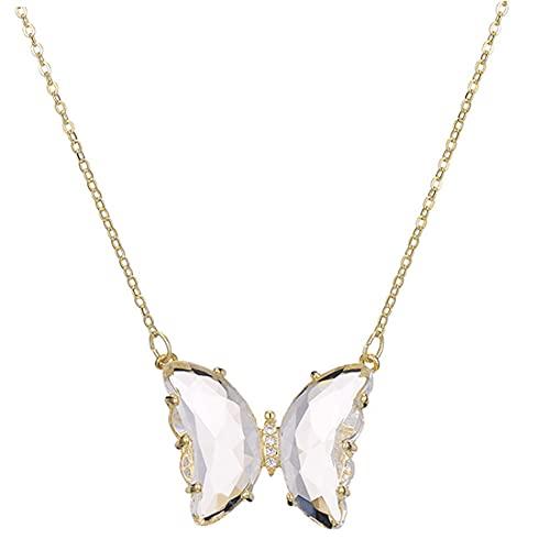 CHXISHOP Collar con colgante de mariposa de cristal y cadena de clavícula corta, blanco