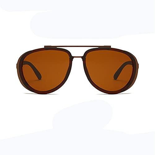 BANLV Gafas de Sol Estilo Aviador Retro a Prueba de Viento con Montura Redonda para Hombres y Mujeres