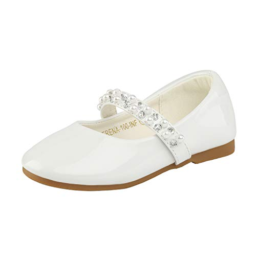 DREAM PAIRS SERENA-100-INF Mary Jane Casual Slip On Ballerina Flat Toddler New White Size 8