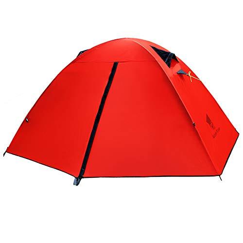 GEERTOP® 20D Einzelnes Personen 3 Jahreszeiten (90 x 210 x 100 cm) super Leicht Camping Kuppelzelt, Ideal für Camping, beim Klettern und Jagen (Rot)