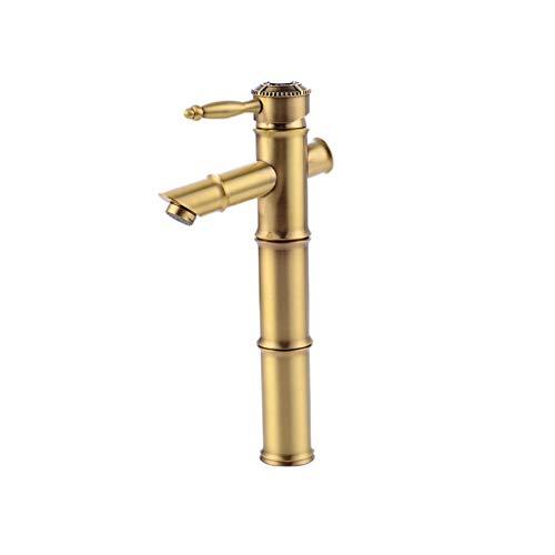 XVXFZEG Baño Lavabo sobre encimera Lavabo caliente y fría del grifo de mezcla, de una sola manija grifo solo agujero, todo de bronce con dibujos manija del grifo del lavabo, del hogar de bronce aument