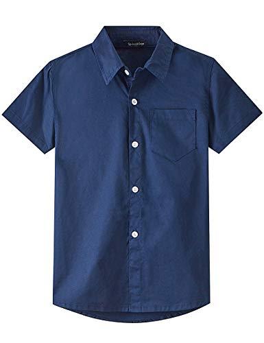 Spring&Gege Boys' Short Sleeve Dress Shirts Formal Uniform Woven Solid, Navy Blue, 9-10 Years