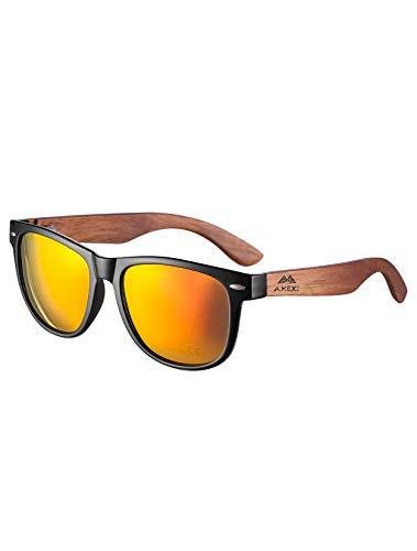 Amexi Sonnenbrille aus Holz für Männer und Frauen, Polarisiert UV400, CAT 3 CE, mit Etui, Stoff und Tasche (Blau Grün) (Orange)