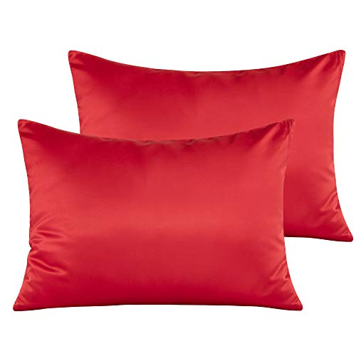 NTBAY Zippered Satin Toddler Pillowcases, 2 Pack Super Soft and Luxury Travel Pillow Cases, 13 x 18 Inches, Red