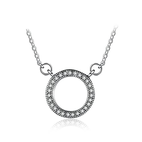 Collar de plata esterlina 925 pandora acentuado corazones circulares de collier collar para mujeres regalo de boda joyería fina