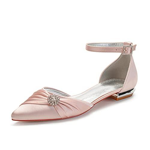 Clásico Mujer Zapatos De Novia Tacones Planos Sandalias Satén Diamante De Imitación...