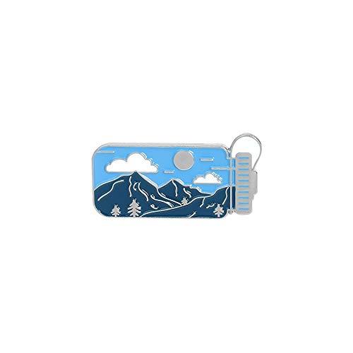JIWEIER Dibujo Simple de la Historieta del Paisaje Caldera joyería de la Forma de la Broche de la Personalidad Creativa del Paisaje del Pico de montaña, Sol, Nube Insignia broches para Las Muj