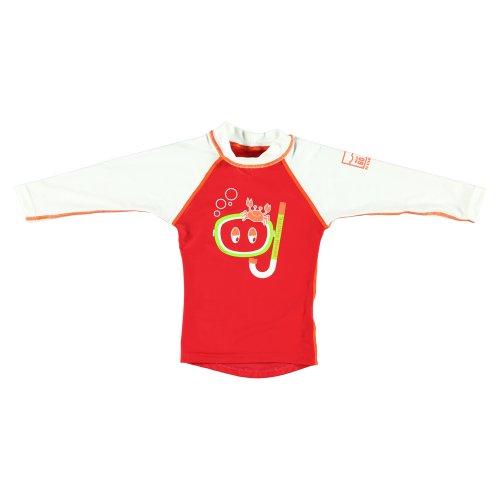 Sonpakkie - Maglietta a Maniche Lunghe per Bambina, Protezione Raggi UV, con Logo Ocean Hunter Raglan, età 2 Anni, Colore: Rosso/Bianco