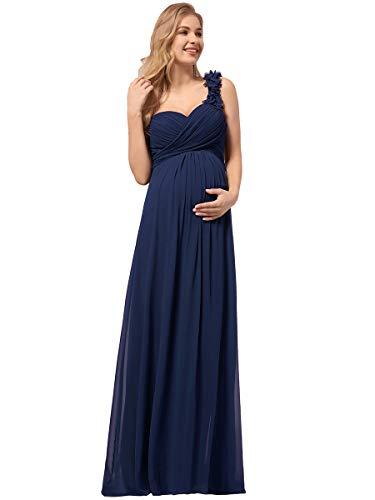 Ever-Pretty Vestidos de Noche de Maternidad Un Hombro Gasa Vestido para Mujer Embarazadas Plisado sin Mangas Azul Marino 54
