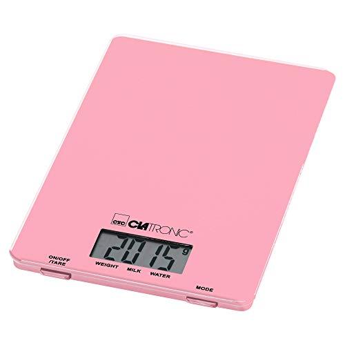 Clatronic 90780592 KW 3626-Báscula de cocina (hasta 5 kg, superficie de cristal, función de tara, pantalla LCD, rosa, plástico