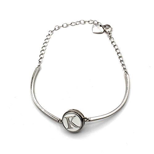 Halfronde armband met initialen (K) (12 mm) (sieraden).