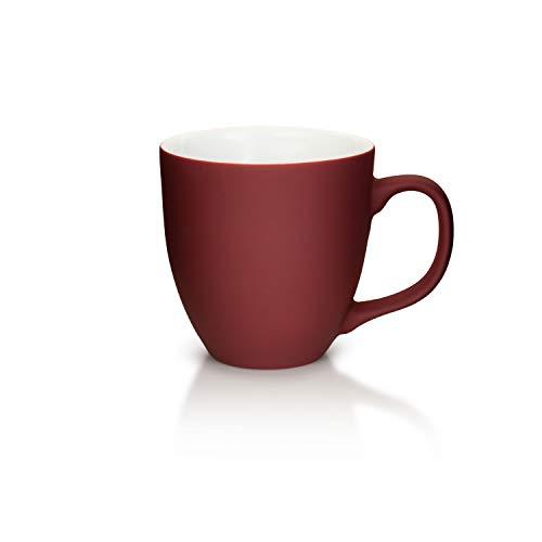 Mahlwerck XXL Jumbotasse, Große Porzellan-Kaffeetasse mit Matter Soft-Touch Oberfläche, Soft-Weinrot, 450ml