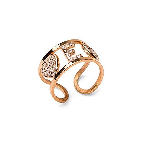 Remo Gammella - Anillo de plata 925 % con corazón de oro blanco, oro rosa y oro amarillo, letra de banda con circonitas de corte diamante. Tamaño ajustable. Todas las letras disponibles oro rosa