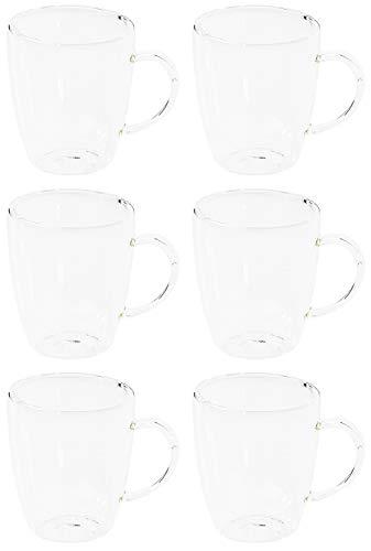 Novaliv 6X Thermoglas Cappuccino Tassen I 270 ml I doppelwandig Glas I Borosilikatglas I spülmaschinen & mikrowellen geeignet I Thermobecher Cappuccinotasse Gläser