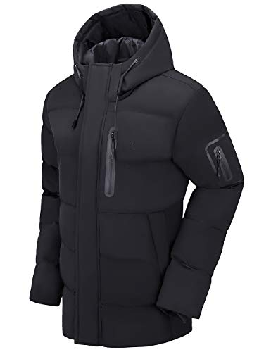 CAMEL Men Puffer Jacket with Hooded Parkas Thicken Padded Jacket Windproof Outdoor for Winter Coat Black